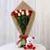 Red & White Roses with Teddy Bear