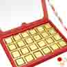 24 pcs Pink Printed Assorted Chocolate Box with Red Pearl Rakhi
